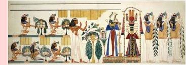Pintura mural en una tumba egipcia, en Gourna, Tebas. La imagen ha sido liberada al dominio público por The British Library.