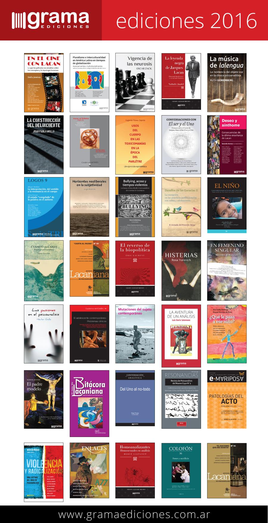 Grama Ediciones. Ediciones 2016.