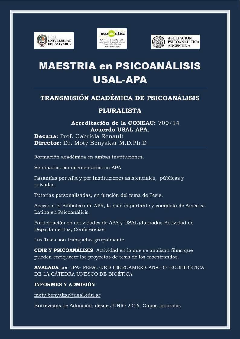 Afiche  USAL-APA-maestria-psicoanalisis