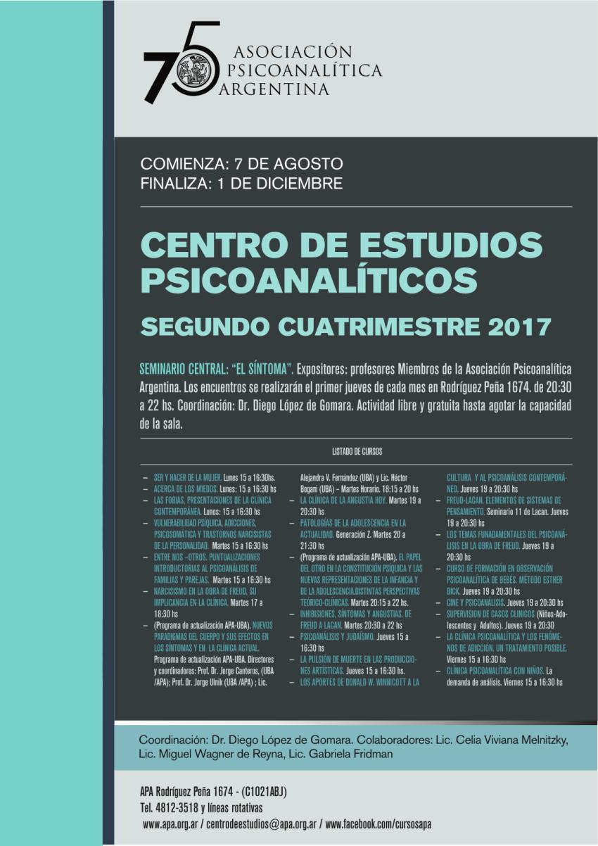 Afiche APA - Centro de Estudios - 2do. Cuatrimestre 2017