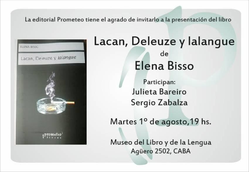 """Presentación del libro """"Lacan, Deleuze y lalangue"""", de Elena Bisso."""
